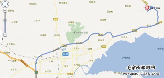 天津市区自驾到毛家峪农家院的线路地图 高清图片